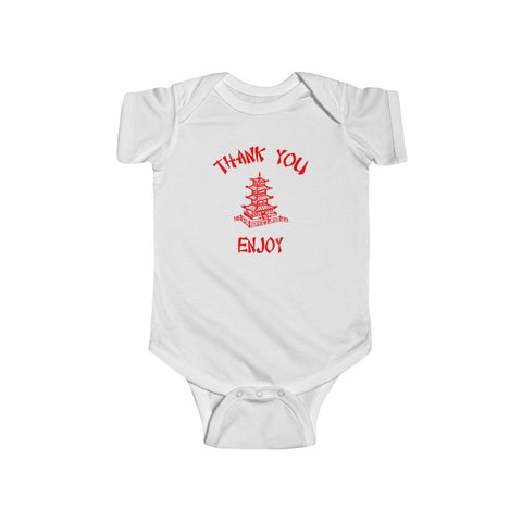 Chinese Food Container Pagoda Thank You Enjoy Infant Fine Jersey Bodysuit