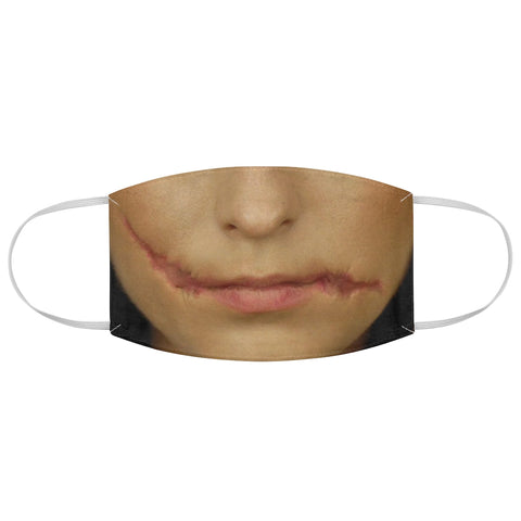 Woman Scar Face Cut Mouth Horror Halloween Fabric Face Mask