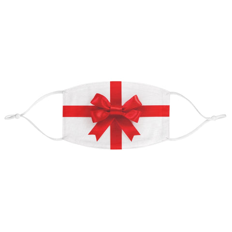 Christmas Gift Present Bow White Red Wrapping Paper Xmas Fabric Face Mask
