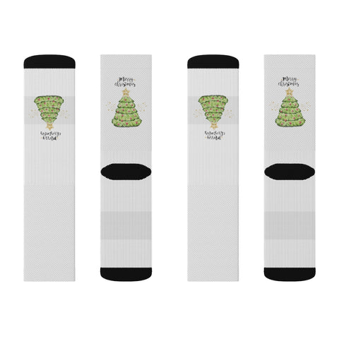 Merry Christmas Tree White Sublimation Socks