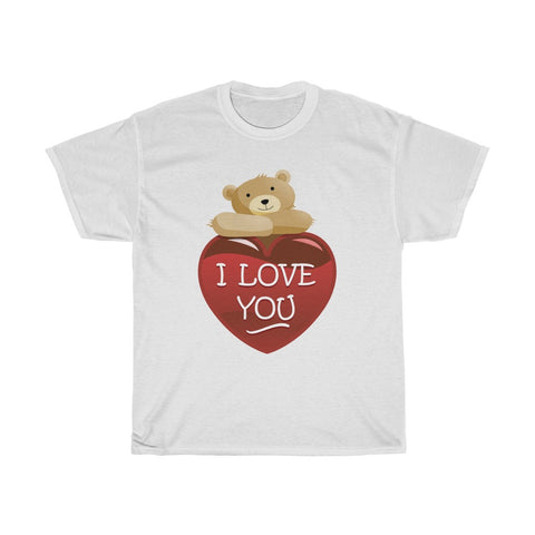 I Love You Bear Heart Valentine's Day Unisex Heavy Cotton Tee