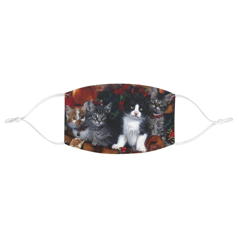 Christmas Scene Kittens Cats Cute Xmas Fabric Face Mask