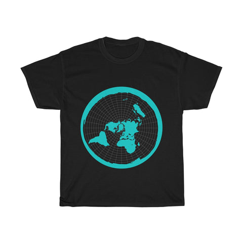 Flat Earth Map - The Earth Is Flat - Unisex Heavy Cotton Tee - Dark Colors