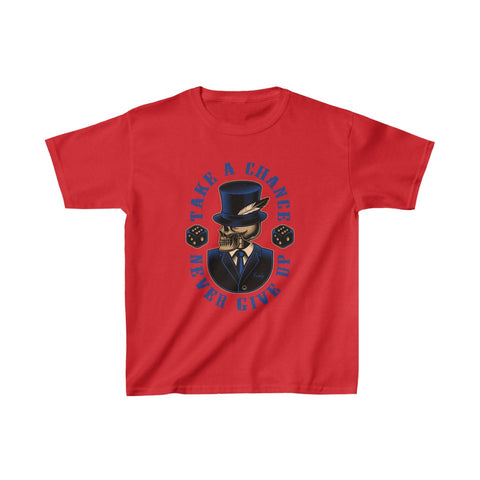 Gambler Skull Take a Chance Never Give Up Dice Kids Heavy Cotton™ Tee