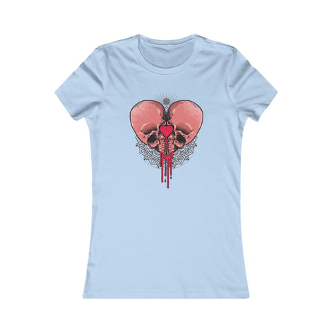 Skulls Heart Blood Henna Valentine Love Women's Favorite Tee