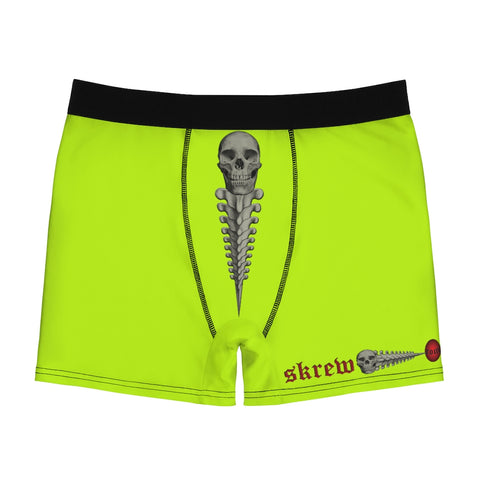 SKREW Vertebrae Logo Skull Fluorescent Yellow Men's Boxer Briefs Screw