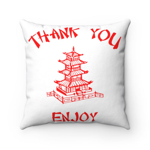 Chinese Food Container Pagoda Thank You Enjoy Spun Polyester Square Pillow