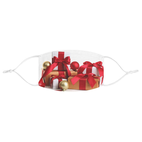 Christmas Gift Present Bow Balls Ornaments White Red Gold Wrapping Paper Xmas Fabric Face Mask