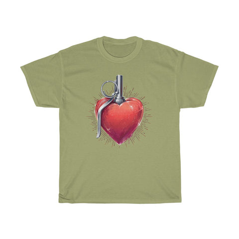 Heart Grenade Love Valentine Unisex Heavy Cotton Tee
