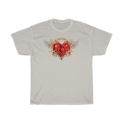 Love Story Heart Stitches Wings Banner 1986 2011 Valentine Unisex Heavy Cotton Tee