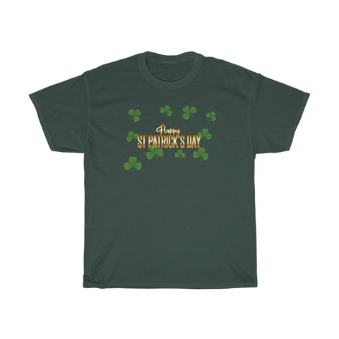 Happy St Patrick's Day Shamrocks Irish Unisex Heavy Cotton Tee
