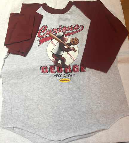 Curious George Baseball Jersey T-Shirt Vintage Rare