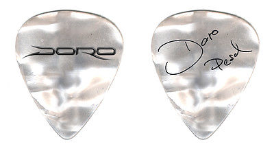 DORO - Mother of Pearl Guitar Pick w/ Black Print