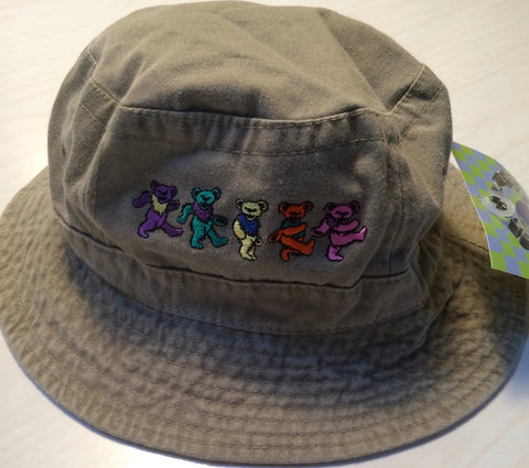 Grateful Dead - Dancing Bears Khaki Bucket Cap