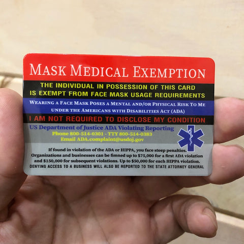 Mask Medical Exemption Card