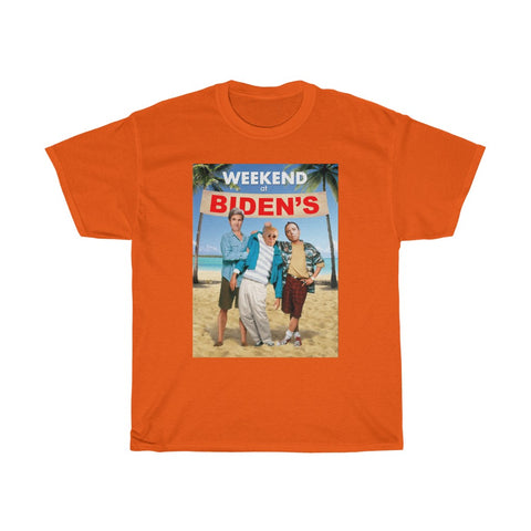 Weekend At Biden's Parody Weekend at Bernie's Joe Biden John Kerry Adam Schiff Unisex Heavy Cotton Tee