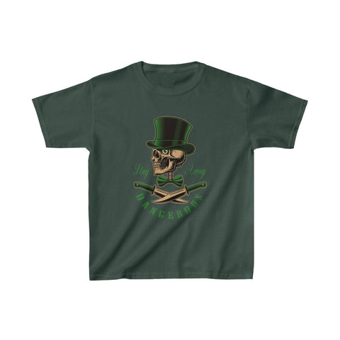 Stay Away Dangerous Skull Top Hat Bow Tie Knives Kids Heavy Cotton™ Tee