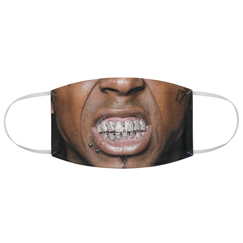 Tattoo Grill Face Black Man Grillz Gold Diamonds Bling Halloween Fabric Face Mask