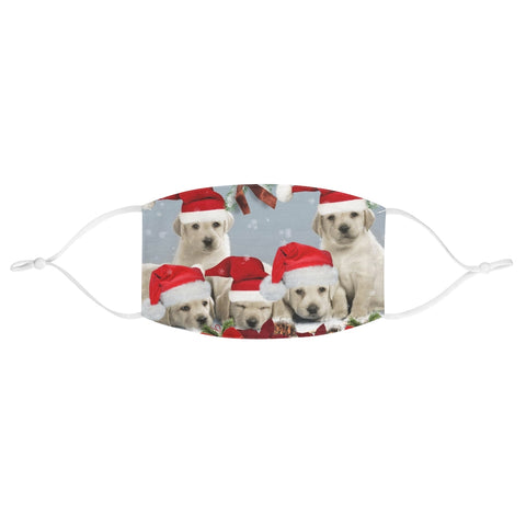 Christmas Scene Puppies Puppy Santa Hat Xmas Fabric Face Mask