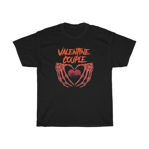 Valentine Couple Skeleton Hands Heart Valentine's Day Unisex Heavy Cotton Tee