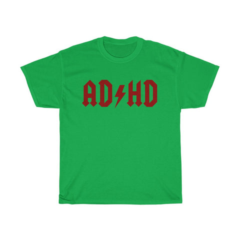 AD/HD an AC/DC Parody ADHD Blood Red Unisex Heavy Cotton Tee