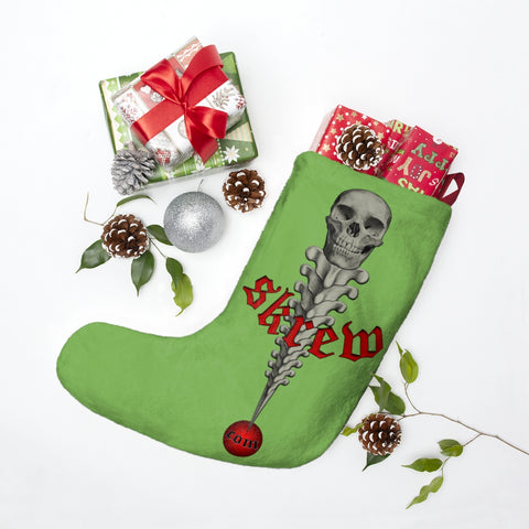 SKREW.com SKREW dot com Skull Vertabrae Green Christmas Xmas Stockings