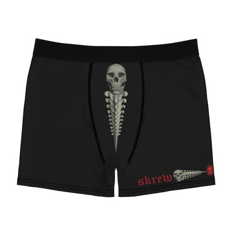 SKREW Vertebrae Logo Skull Black Men's Boxer Briefs Screw