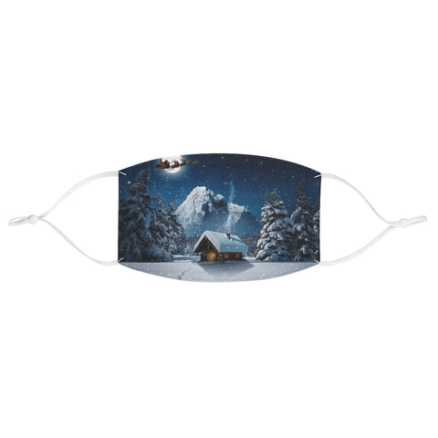 Christmas Santa Clause Sleigh Reindeer Snow Log Cabin Snow Moon Scene Fabric Face Mask