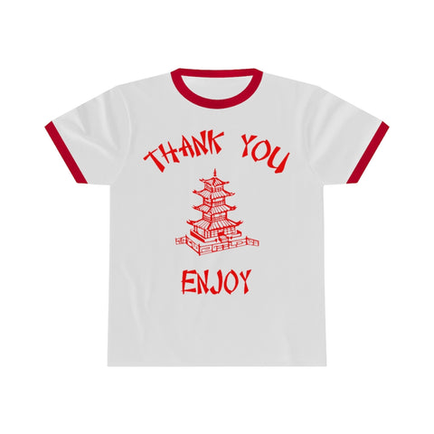 Chinese Food Container Pagoda Thank You Enjoy Unisex Ringer Tee