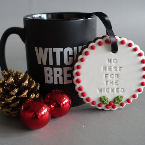 No Rest For the Wicked Biscuit and Witch's Brew Mug