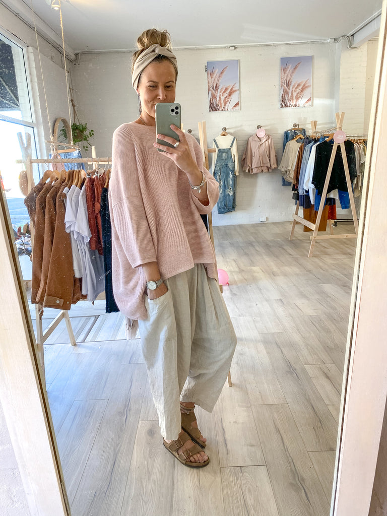 Oversized Rib Knit Blush
