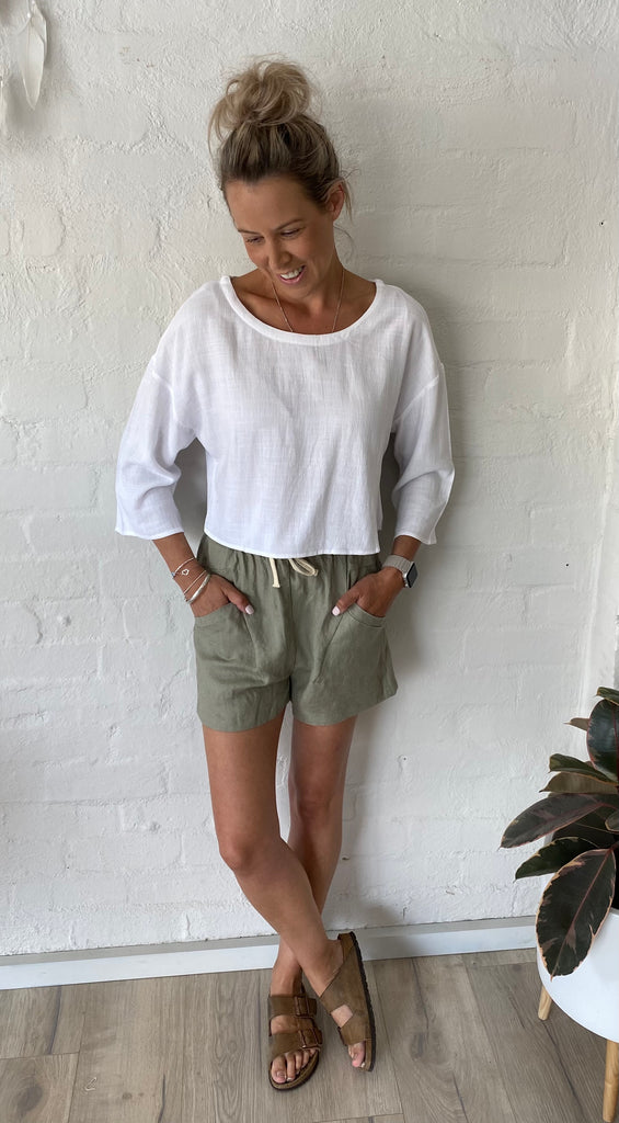 Gemma Long Sleeve Top White