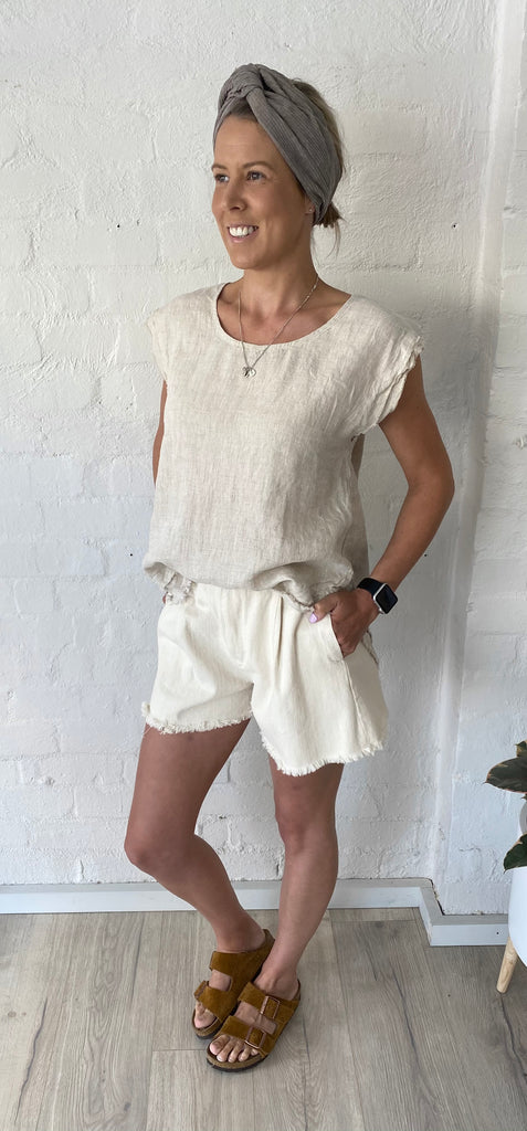 Mia Linen Sleeveless Top Natural