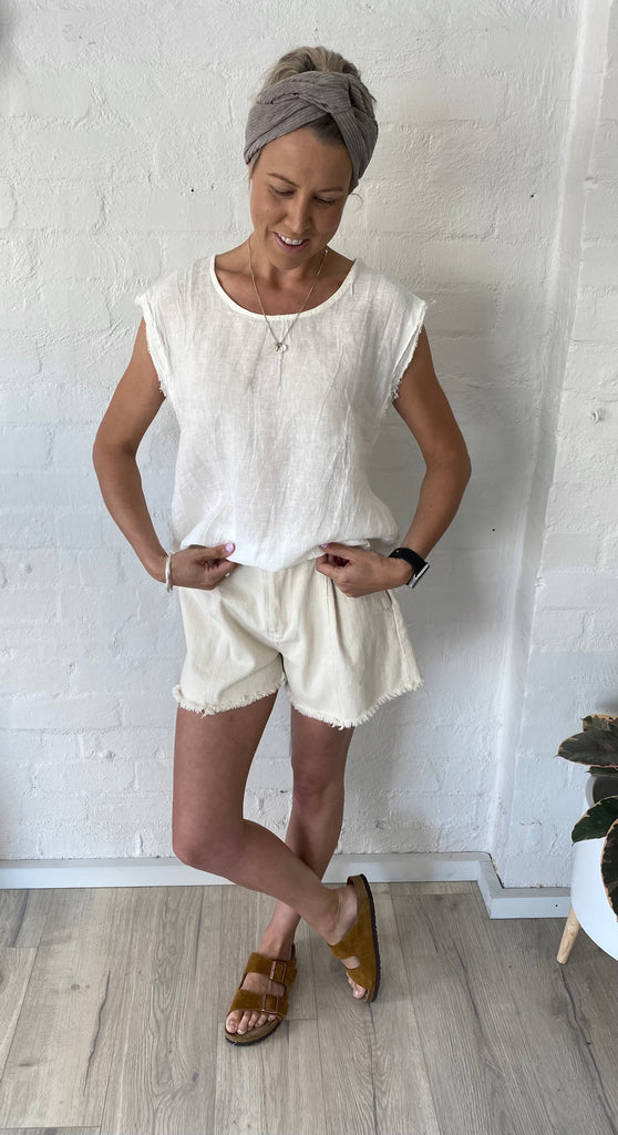 Mia Linen Sleeveless Top White