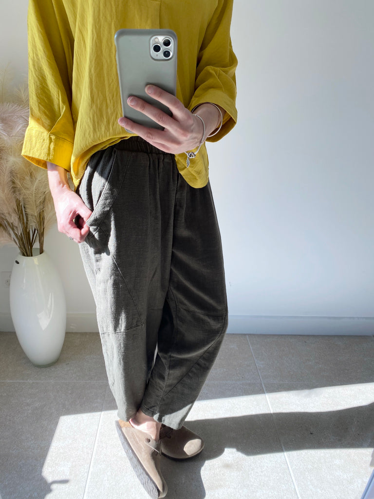 Side Pocket Linen Pants Khaki