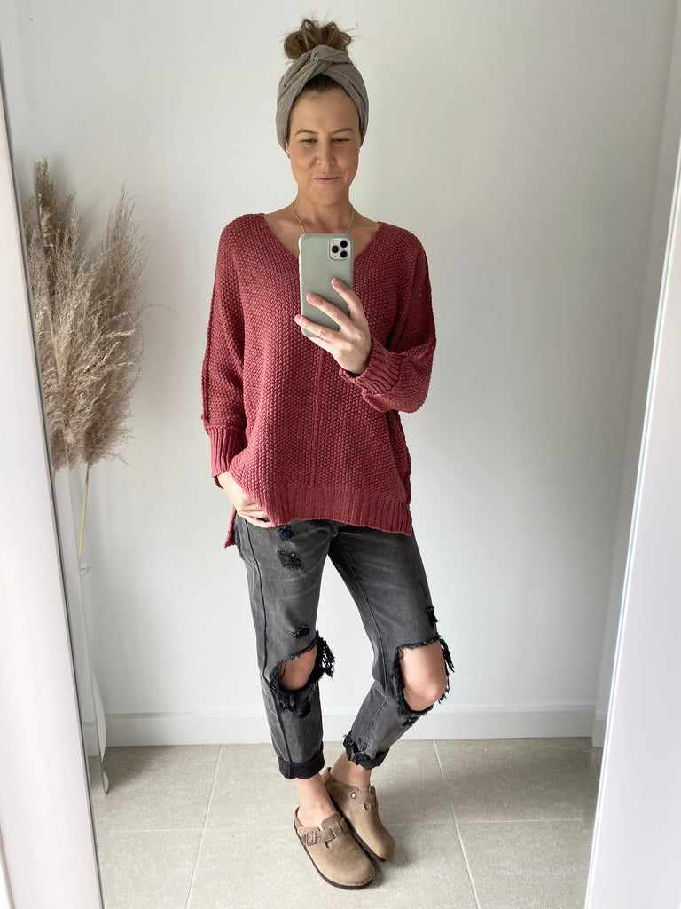 Chunky V-Neck Jumper Rust