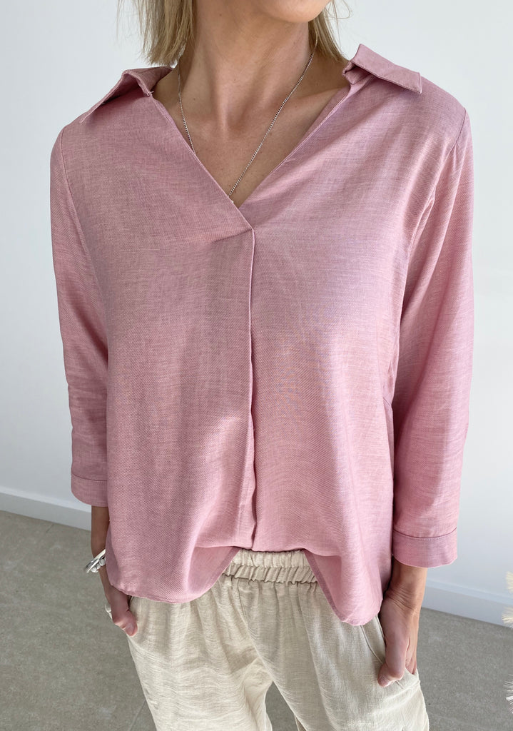 V-Neck Linen Shirt Blush