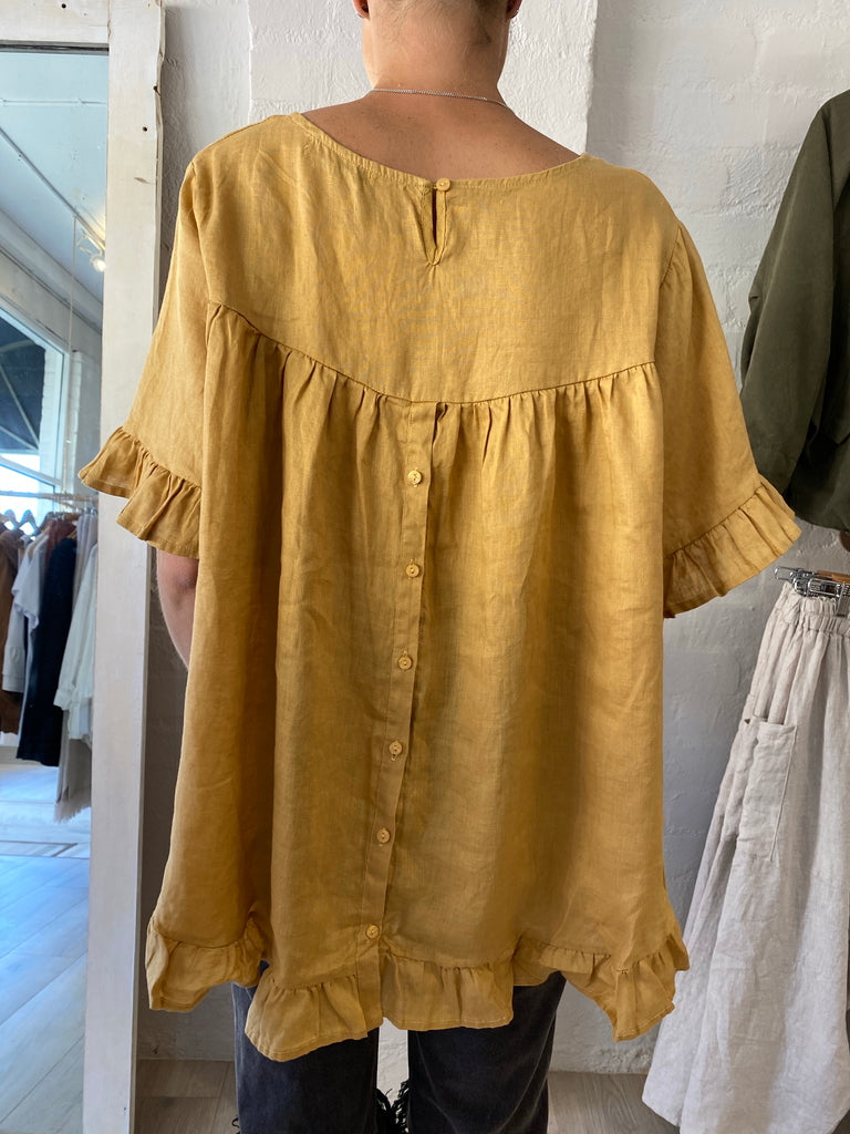 Linen Button Up Back Top Mustard