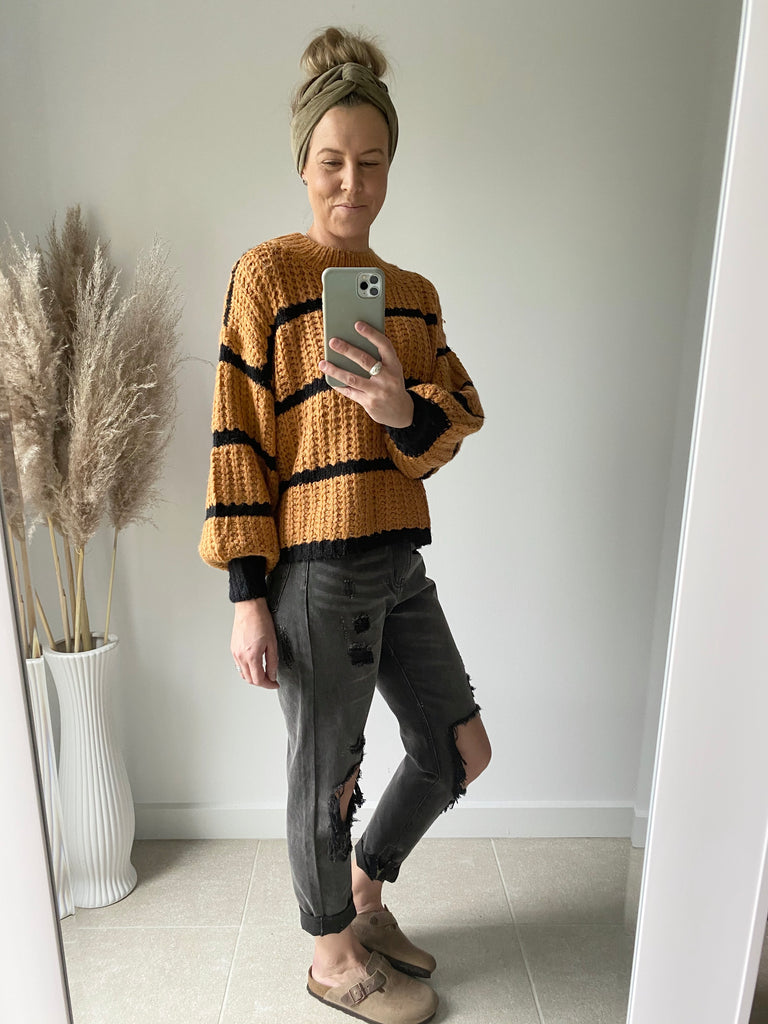 Black And Tan Stripe Jumper