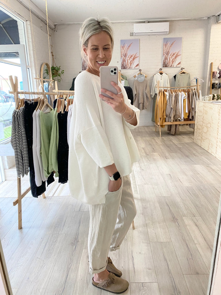 Annabelle Oversized Rib Knit White