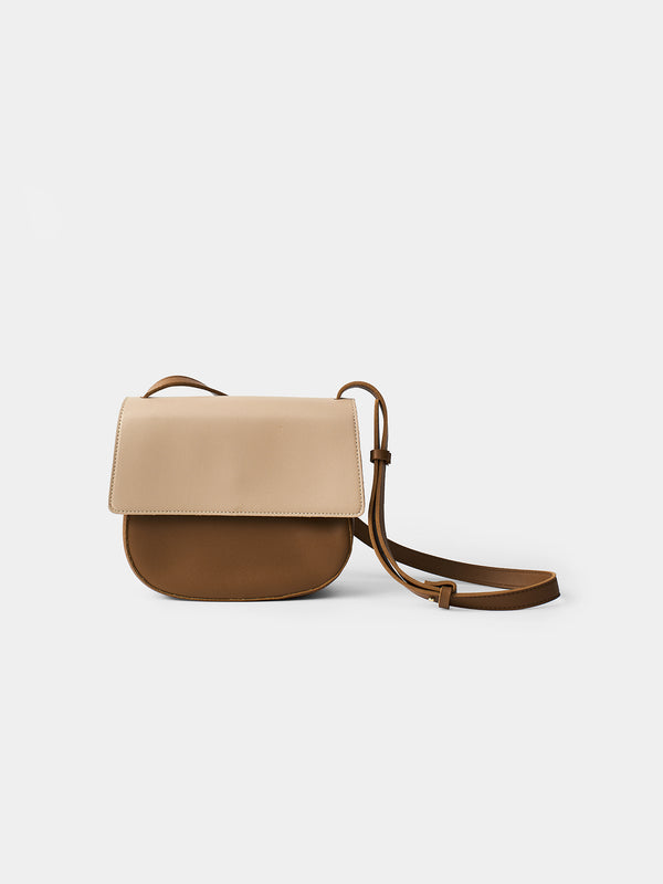 Delfina Bicolor Shoulder Bag - Tan