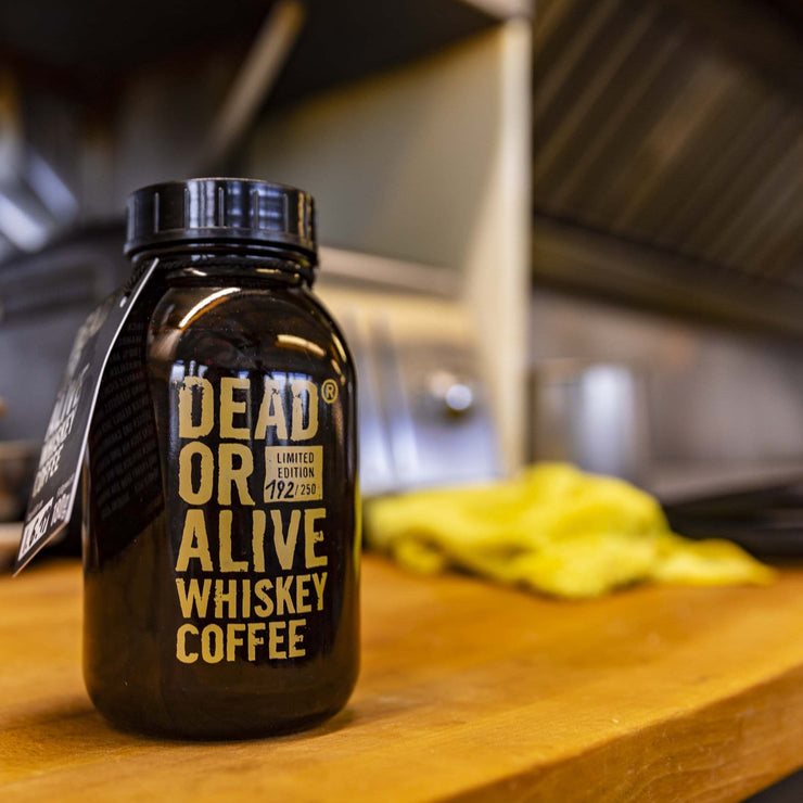 DEAD OR ALIVE WHISKEY COFFEE - DEADLY JACK - WHISKEY FLAVORED COFFEE - GLASS BOTTLE - WHOLE BEANS