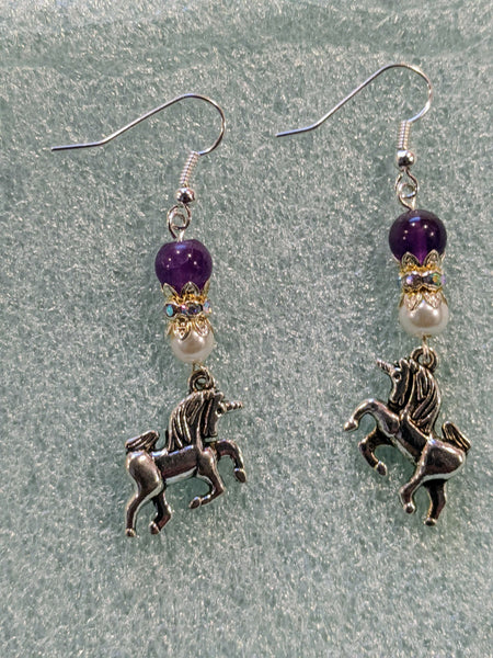 Unicorn charm and amethyst beaded dangle earrings