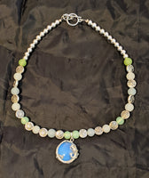 Moonstone Dragon Pendant Beaded Necklace
