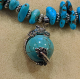 Eye catching turquoise beaded necklace with dragon & turquoise pendant