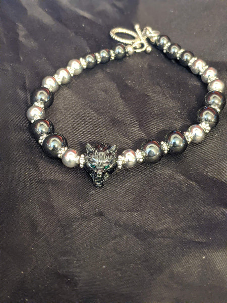 Hematite and Silver Beaded Bracelet with Wolf Head Focal Bead