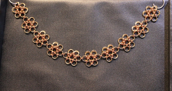 "Handcrafted chainmail ""Japanese Flower"" ""Celtic Daisy"" choker."