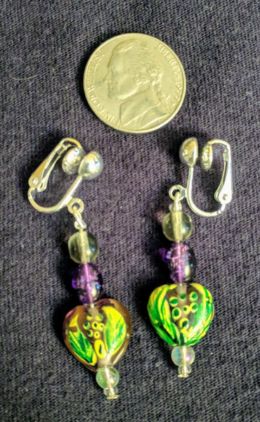 Lampwork beaded clip on earrings
