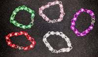 Glow in the dark captured bead chainmail bracelets