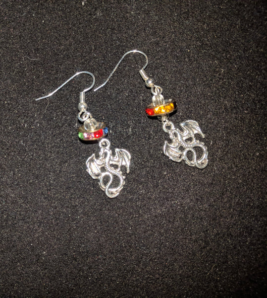 Dragon earrings with rainbow rondelle